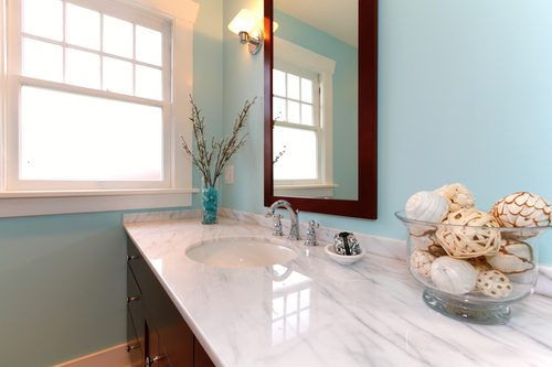 Marble Counterops - White Bathroom Sink Countertop